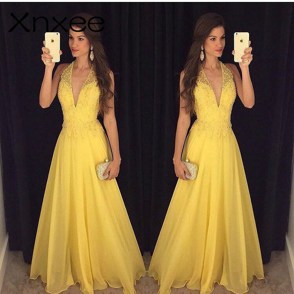 Xnxee Fashion Yellow Lace Dress 2018 Evening Party Sleeveless Halter Deep V-neck Long Elegant Summer Dress Women Maxi Dress