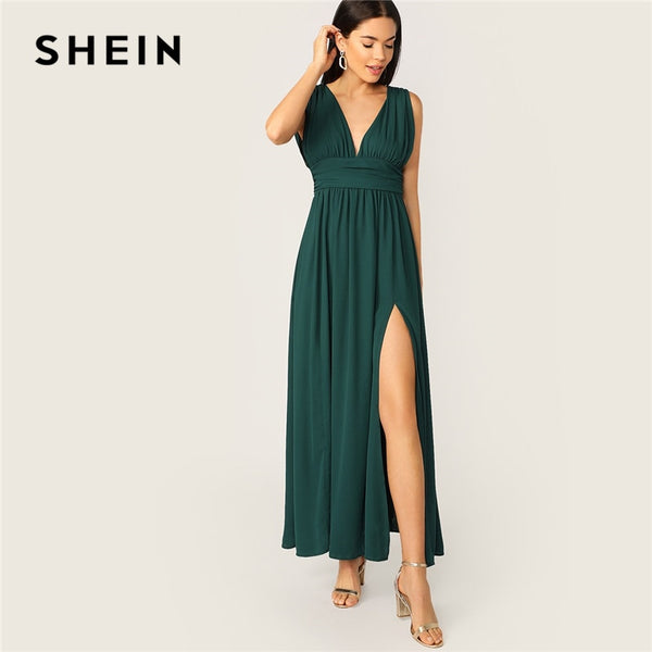 SHEIN Sexy Green Plunging Neck Zip V Back High Split Ruched Summer Party Dress Women Fit And Flare Solid  Glamorous Dresses