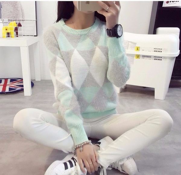 Female Pullovers Winter Sweater Fashion Women Spring Autumn Pullover Long Sleeve Plaid Casual