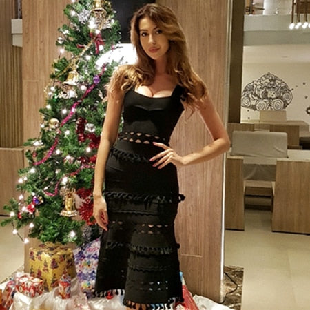 Adyce 2019 New Summer Bandage Dress Women Elegant Celebrity Evening Party Dress Sexy Hollow Out Midi Spaghetti Strap Club Dress