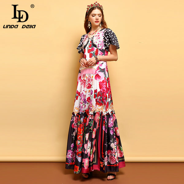 LD LINDA DELLA Summer Fashion Runway Plus Size Maxi Dress Women's V Neck Ruffles Floral Pirnt Holiday Party Elegant Long Dress