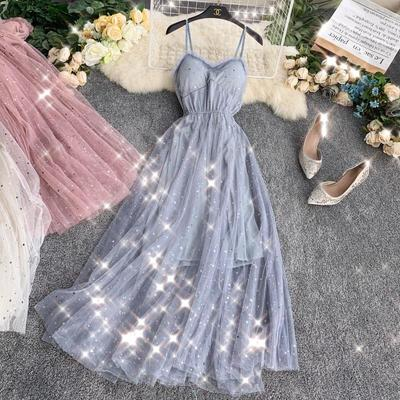Summer Runway  Women Sweet Dress Sexy Spaghetti Strap Pink Black Long Dress Elegant Sequined Shining Fairy Verano Vestidos