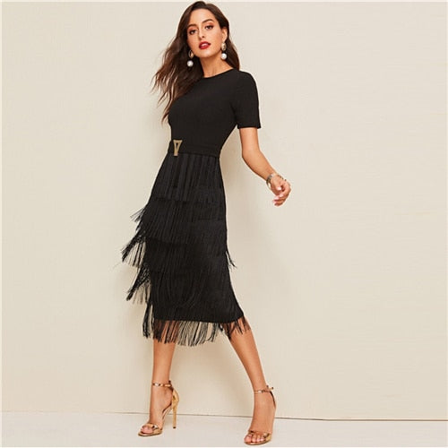 SHEIN Elegant Metal Button Detail Layered Fringe Black Pencil Dress Women High Waist Solid Short Sleeve Summer Slim Long Dresses