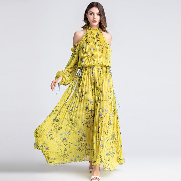 Ladies Long Party Beach Dresses Summer Fashion Halter Long Sleeve One off Shoulder Luxury Yellow Floral XXL Pleat Maxi Dress