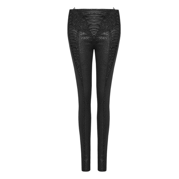 PUNK RAVE Gothic Retro Carved Patterns Knitted Slim Long Leggings Women Black Red Bandage