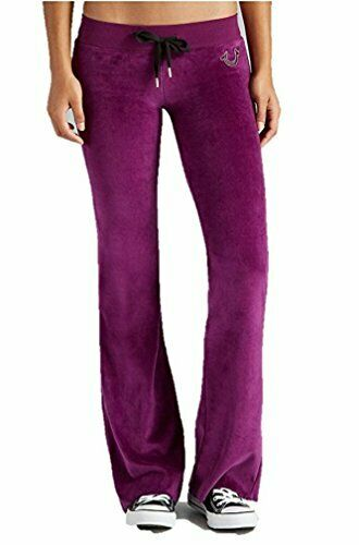 True Religion Women's Velour Sweatpants in Boysenberry (X-Small, Small)