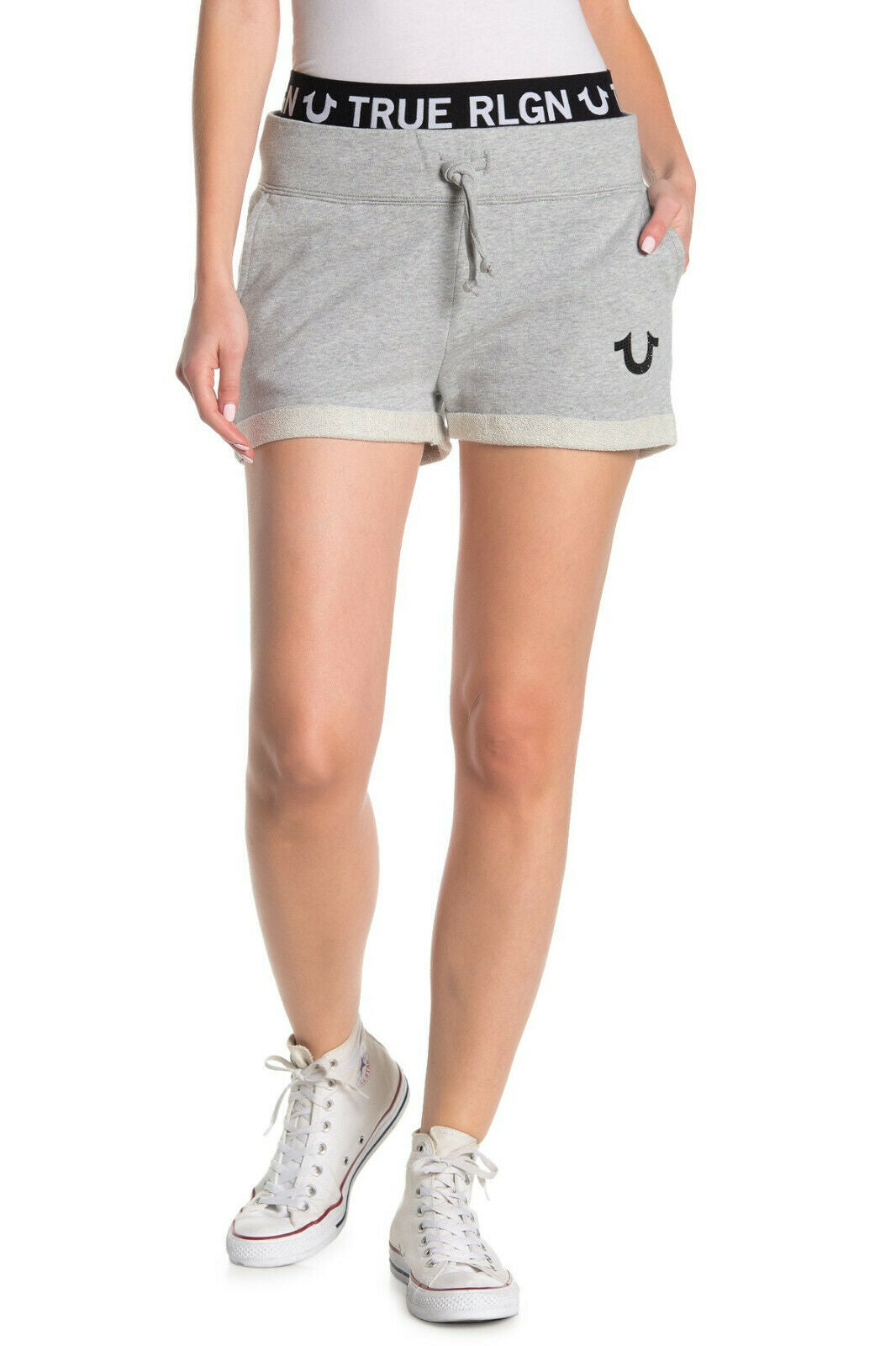 True Religion Women's Logo Trim Elastic Waist Activewear Sweat Shorts in Grey