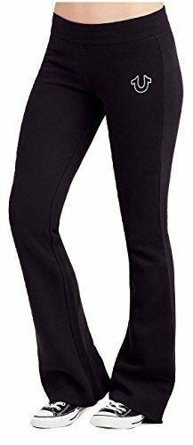 True Religion Women's Active Horseshoe Sweatpants in Black (Large)