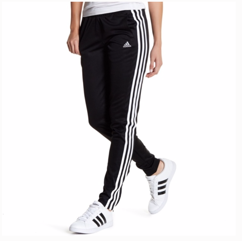 New Womens Adidas Track Pants Black White Striped Size XS S M