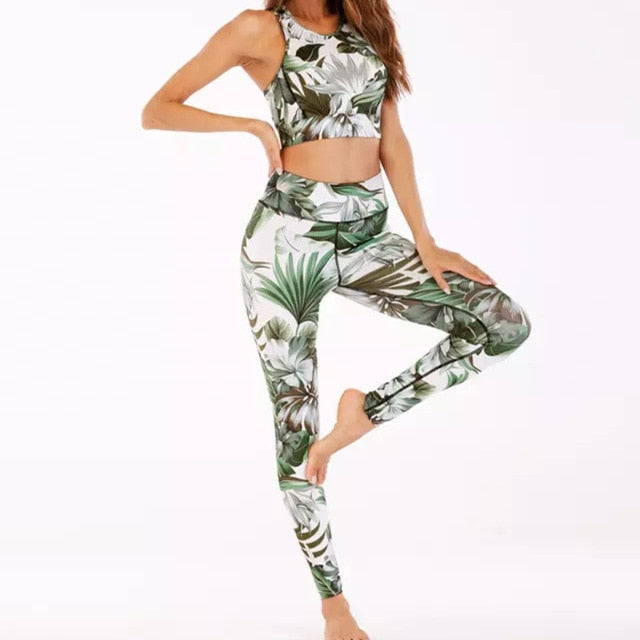 Women's Apparel Sports Gym Yoga Floral Printed Workout Activewear 2 Pieces Top+High Waist Leggings Set|Yoga Sets