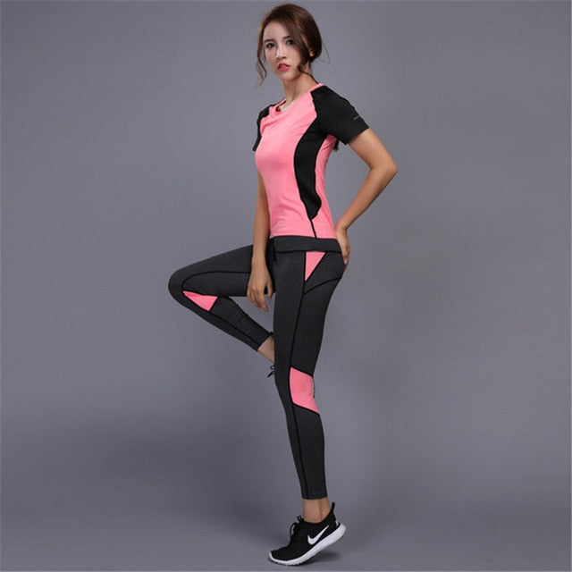 5 colors Women's sportswear Yoga Set sports set Fitness Gym set Running Tennis Shirt+Pants Yoga Leggings Jogging Workout suit|Yoga Sets