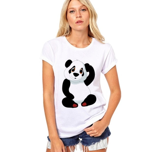 Pure Cotton T Shirt Summer  Selling Round Collar T Shirt Adorable Panda  TShirt Women kawaii Clothes Casual Shirt|T-Shirts