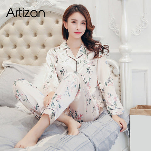 Satin Silk Pajamas for Women's Set pyjamas Button Sleepwear Nightwear  2Pcs|Pajama Sets