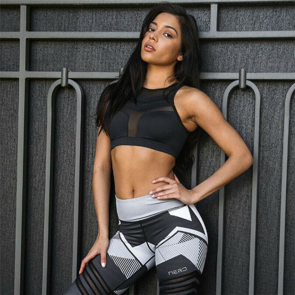 Women's Yoga Sport Suit Printed Bra &Pants Gym Fitness Leggings Workout Yoga Set