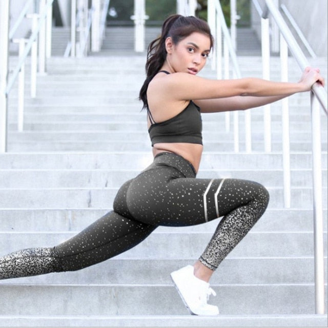 Women Gold Print Leggings No Transparent Exercise Fitness Leggings Push Up Workout