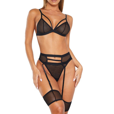 Lingerie Set Garter Belts 3pcs Set Women Transparent Bra Set+Garter Black Sexy Lingerie Lace Plus Size Underwear|Bra & Brief Sets