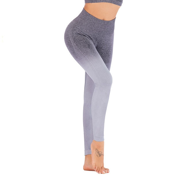 Sport Yoga Gradient color energy Legging Women Workout Fitness Jogging Running Pants Gym Tights Stretch Sportswear Yoga Leggings