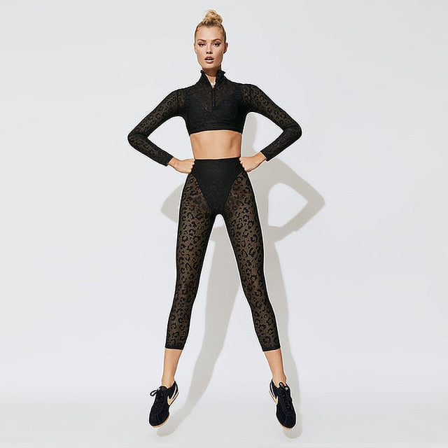 New Women Yoga Set Leopard Lace Breathable Sports Bra Sportswear Gym Workout Clothes Sport Suits Zipper Leggings Set Activewear