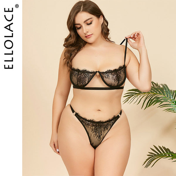 Plus Size Lingerie Underwear Set Women Wholesale Lace See Through Bra and Thong Female Bodycon Sexy Lingeries |Bra & Brief Sets