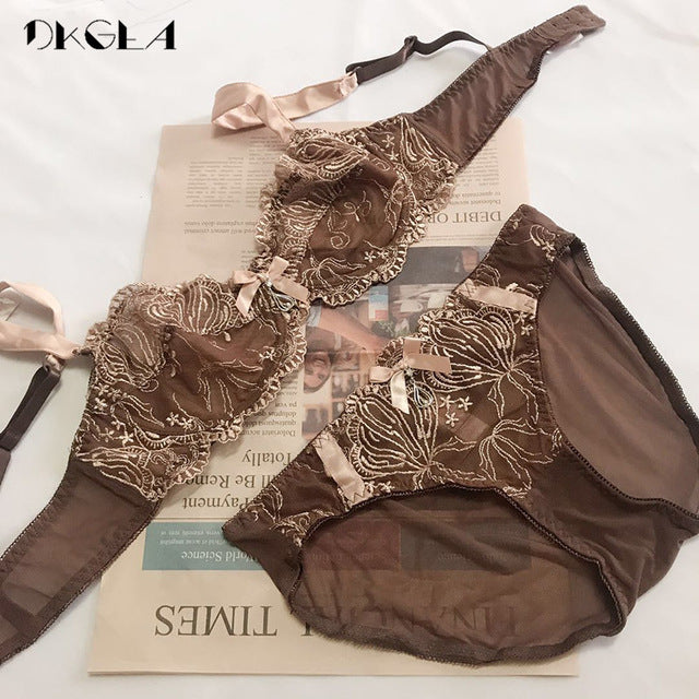 New Sexy Bra Panties Sets Plus Size Brassiere Ultrathin Underwear Set Transparent Bras Women Lace Lingerie Set Embroidery Brown|Bra & Brief Sets