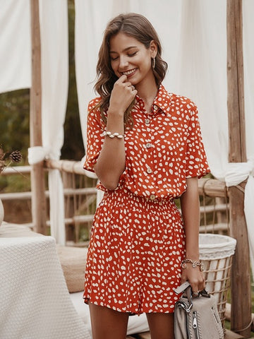 Floral Print Casual Beach Short Sleeve Tunic Sexy V Neck Boho Dots Rompers Womens Jumpsuit|Rompers