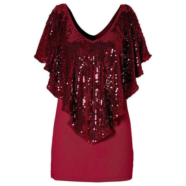 Stylish Summer Women Sequined T shirts Lady Sparkle Glitter Tank Short sleeve Top T Shirt|T-Shirts
