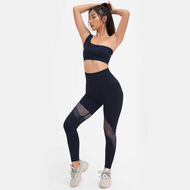 Seamless Fitness Sports Bra Suits One shoulder Sexy Shirts High Waist Workout Yoga Set Gym Clothing Running Leggings|Yoga Sets
