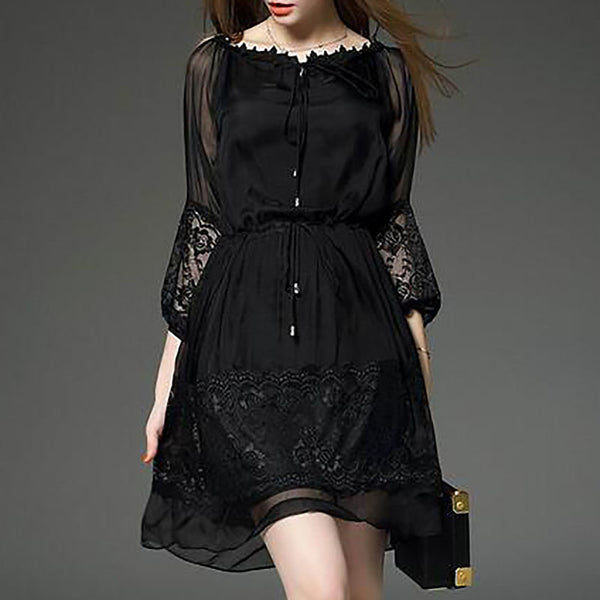 Women's Going out Chiffon Dress - Solid Colored Lace Summer Black