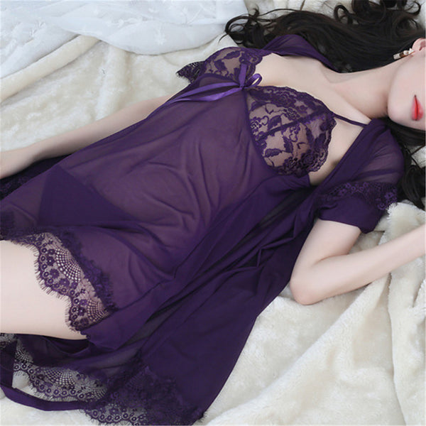 Women's Sexy Babydoll & Slips / Robes Nightwear Gift Solid Colored / Embroidered Blushing Pink Purple Lavender L XL XXL / Deep V