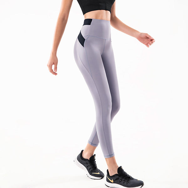 Women's High Rise Yoga Pants Color Block Mesh Gym Workout Tights Activewear Breathable Moisture Wicking Quick Dry