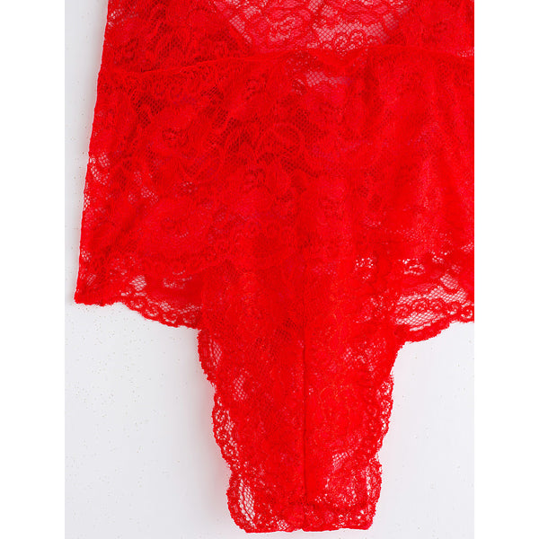 Women's Mesh Plus Size Ultra Sexy Nightwear - Lace Solid Colored Black Fuchsia Red