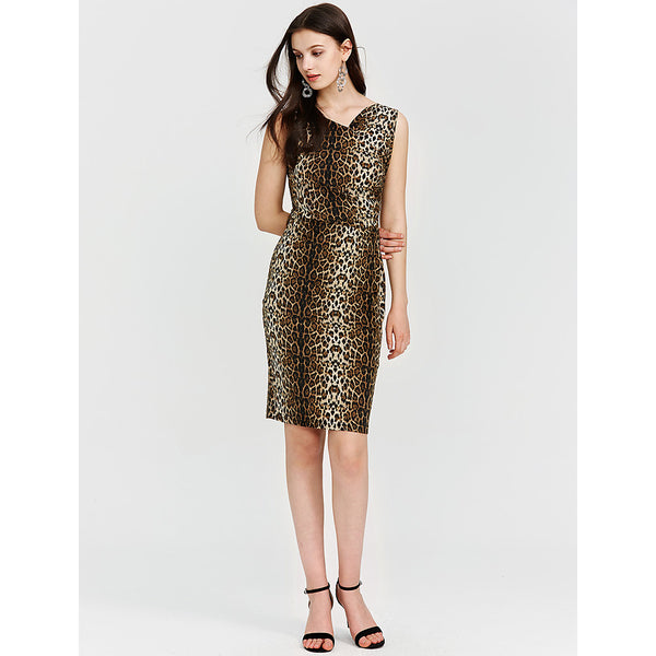 Women's Plus Size Casual / Daily Active Slim Sheath Dress - Leopard V Neck Fall Yellow