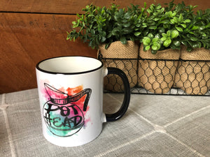 Watercolor Pot Head Coffee Mug