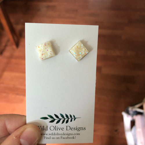 10mm White Square Druzy