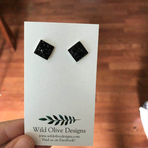 10mm Black Square Druzy