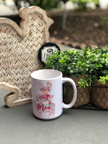 Floral Farm Animals Mug