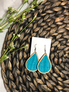 Wooden Teardrops with Turquoise