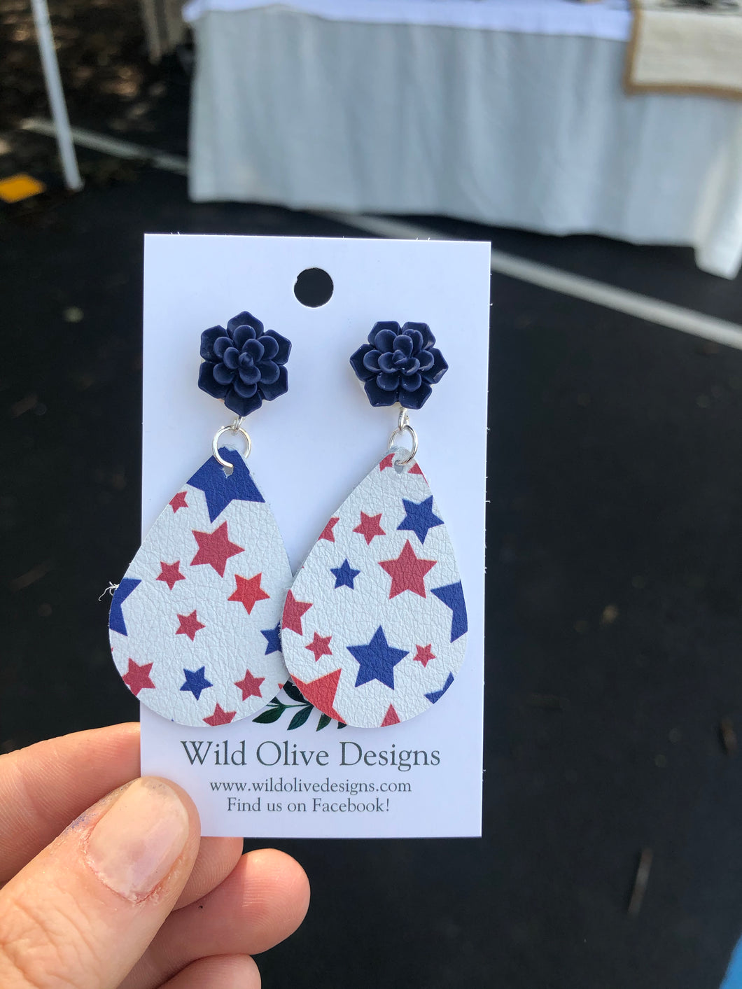 Navy Succulent Studs with Teardrop