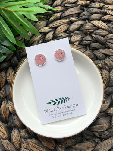Pink Speckled Studs