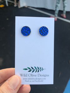 Crackle Blue Studs
