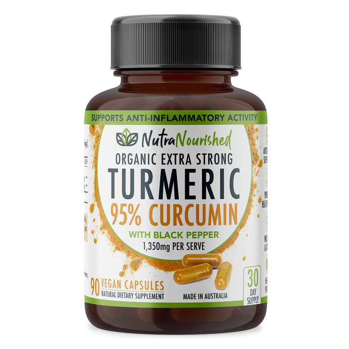 Turmeric 95% Curcumin Extract (1,350mg), Organic w/ Black Pepper, 90 Capsules/1 Month