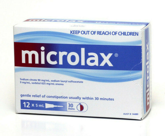 Microlax Enema 12 x 5mL - Reliefe Constipation