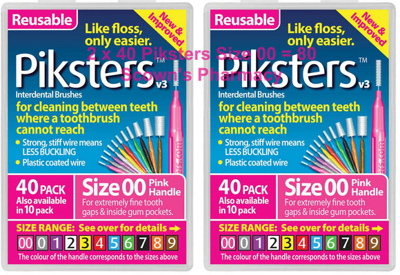 2 x 40 Pack = 80 Piksters Size 00 Interdental PINK Handle Brush Like Floss