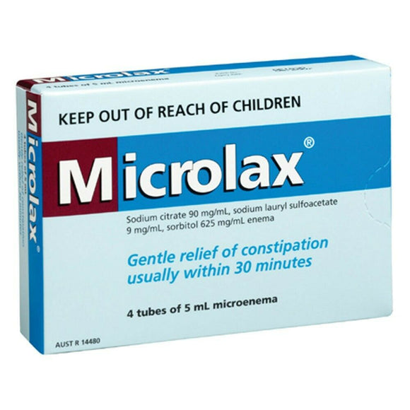 Microlax Enema 4 x 5mL - Reliefe Constipation