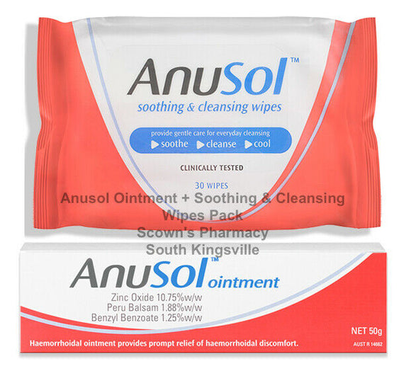 Anusol Ointment 50g + Soothing & Cleaning Wipes 30 Pack Haemorrhoidal Relief