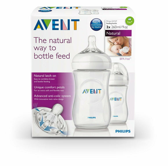 Philips Avent Natural Feeding Bottle - 260 mL - 2 Bottle Set