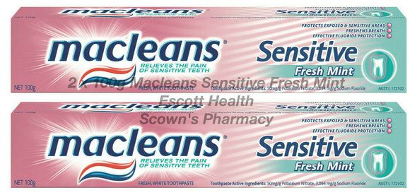 2 x 100g Macleans Toothpaste Sensitive Relieve The Pain Of Sensitive Teeth