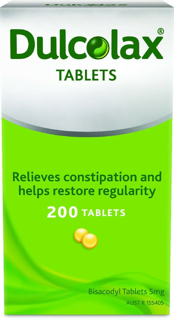 Dulcolax 200 Tablets 5mg Bisacodyl Laxative Relieves Constipation