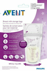Avent Breast Milk Storage Bags - 180ml - 25 Pack Freezer Safe Pre-Sterilized