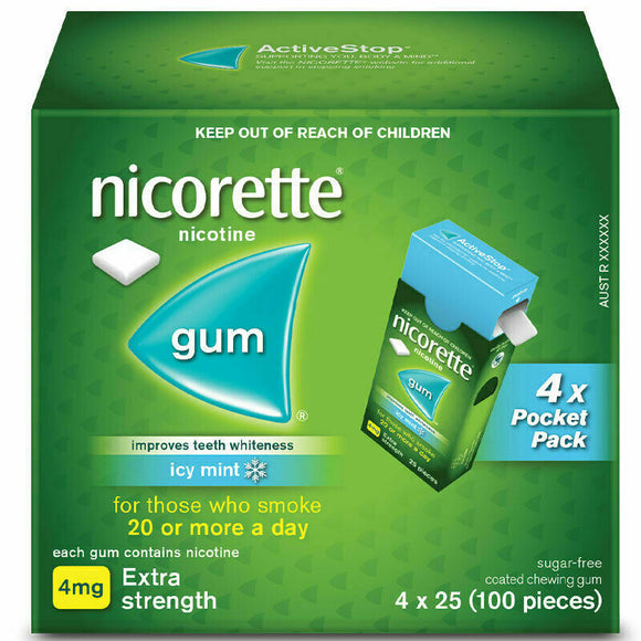 Nicorette Nicotine Gum Icy Mint Extra Strength 4 x 25 Pack 100 gums